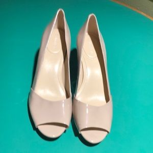Calvin Klein Taupe Peep Toe Low Heeled Sandals7.5